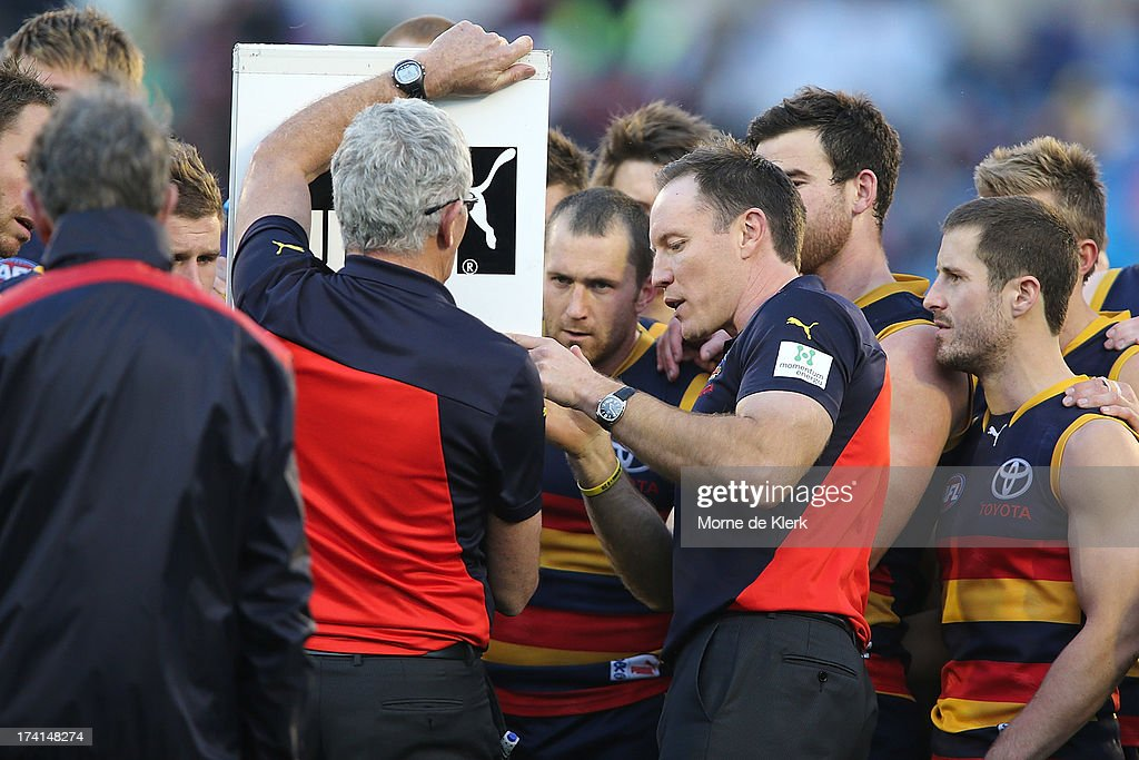 <a gi-track='captionPersonalityLinkClicked' href=/galleries/search?phrase=Brenton+Sanderson&family=editorial&specificpeople=224964 ng-click='$event.stopPropagation()'>Brenton Sanderson</a> of the Crows speaks to his team during the round 17 AFL match between the Adelaide Crows and the Geelong Cats at AAMI Stadium on July 21, 2013 in Adelaide, Australia.