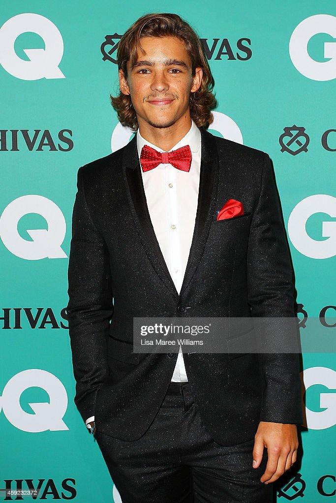Brenton Thwaites arrives for the GQ Men Of The Year Awards 2014 at The Ivy on November 19 2014 in Sydney Australia
