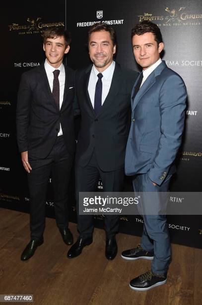 Brenton Thwaites Orlando Bloom and Javier Bardem attend a screening of 'Pirates Of The Caribbean Dead Men Tell No Tales' hosted by The Cinema Society...