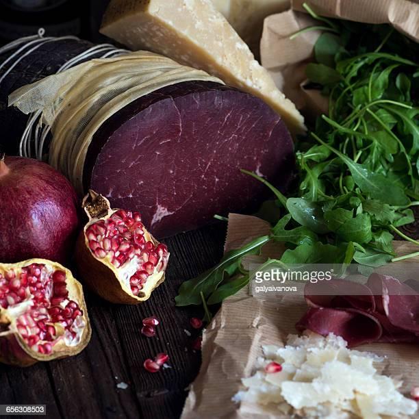 Bresaola and pomegranate