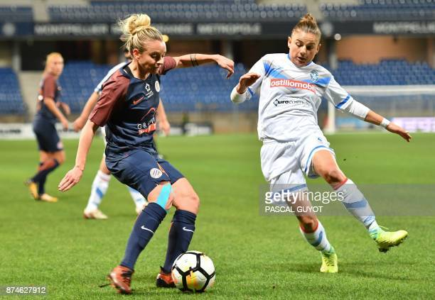 Brescia's midfielder Aleksandra Sikora fights for the ball with Montpellier's French defender Marion Torrent during the UEFA Women's Champions League...