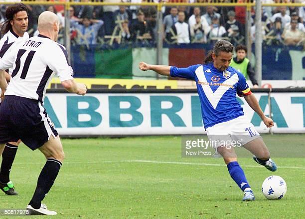 Brescia's Roberto Baggio scores during the Italian Serie A match between Brescia and SS Lazio at the Mario Rigamonti stadium on May 9 2004 in Brescia...
