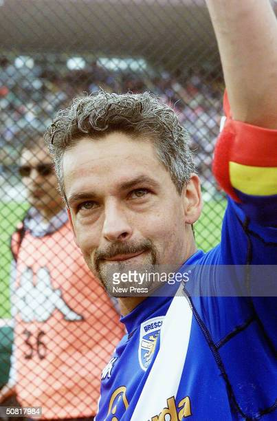 Brescia's Roberto Baggio waves to the fans after the Italian Serie A match between Brescia and SS Lazio at the Mario Rigamonti stadium on May 9 2004...