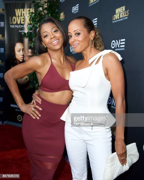 Bresha Webb and Essence Atkins attend the Premiere Of TV One's 'When Love Kills' at Harmony Gold on August 22 2017 in Los Angeles California