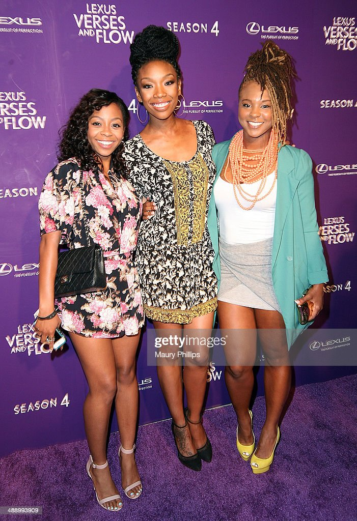 <a gi-track='captionPersonalityLinkClicked' href=/galleries/search?phrase=Bresha+Webb&family=editorial&specificpeople=5460613 ng-click='$event.stopPropagation()'>Bresha Webb</a>, <a gi-track='captionPersonalityLinkClicked' href=/galleries/search?phrase=Brandy+Norwood&family=editorial&specificpeople=202122 ng-click='$event.stopPropagation()'>Brandy Norwood</a> and <a gi-track='captionPersonalityLinkClicked' href=/galleries/search?phrase=Torrei+Hart&family=editorial&specificpeople=5637856 ng-click='$event.stopPropagation()'>Torrei Hart</a> arrive at 'Verses And Flow' Season 4 taping presented by TV One at Siren Studios on May 8, 2014 in Hollywood, California.