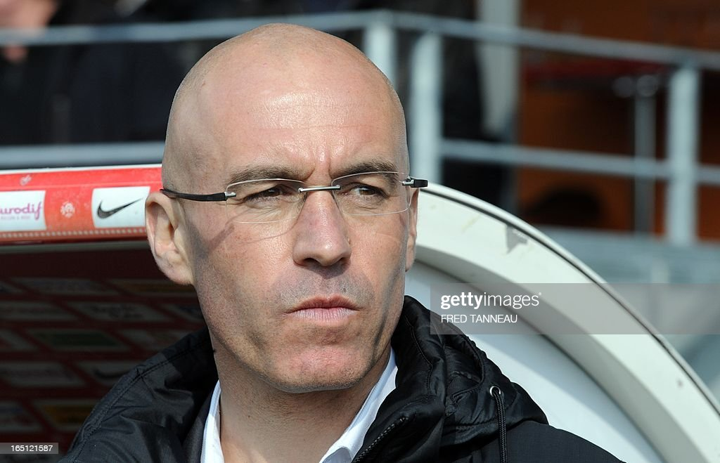 Brest's French coach Landry Chauvin attends the French L1 match Brest vs Lille at the Francis Le Ble stadium on March 31, 2013 in Brest, western France. AFP PHOTO/FRED TANNEAU