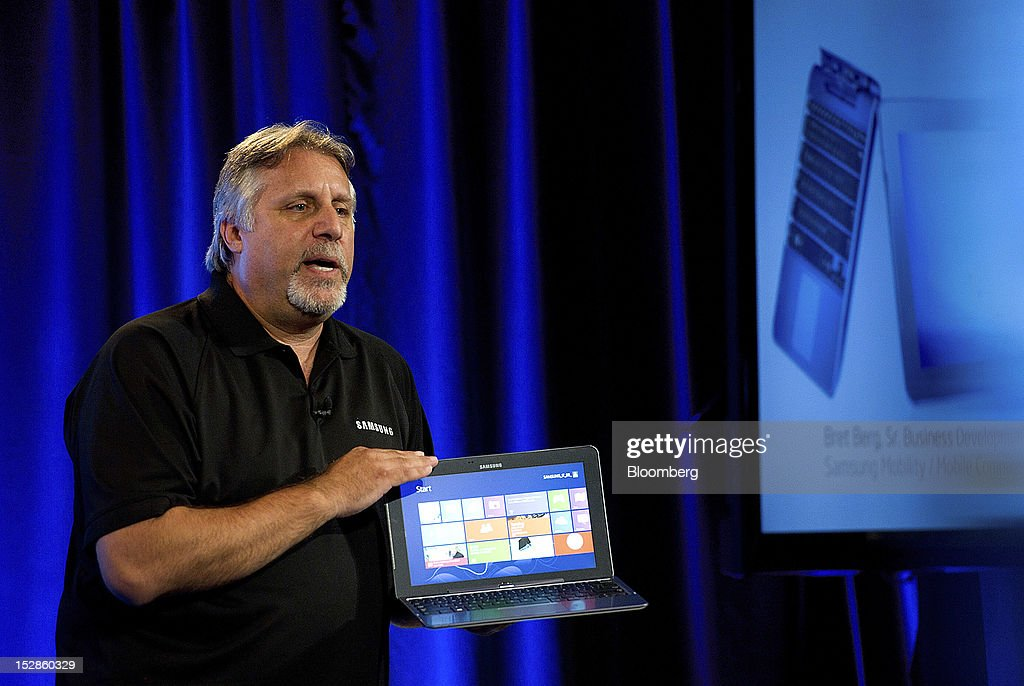 Bret Berg, senior director of business developement for Samsung Corp. Mobility, speaks during an event in San Francisco, California, U.S., on Thursday, Sept. 27, 2012. Intel Corp.'s delayed delivery of software that conserves computer battery life is holding up the development of some tablets running the latest version of Microsoft Corp.'s flagship Windows operating system, a person with knowledge of the matter said. Photographer: David Paul Morris/Bloomberg via Getty Images