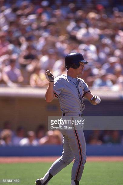 Bret Butler of the San Francisco Giants circa 1988 prepares to bat against the Los Angeles Dodgers at Dodger Stadium in Los Angeles California
