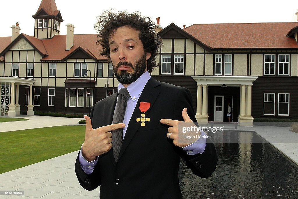 Bret McKenzie poses after receiving the Insignia of the Queen's Service Order during the Governor General's bienniel Investiture Ceremonies held for recipients of the New Year and Queen's Birthday honours at Government House on September 6, 2012 in Wellington, New Zealand.