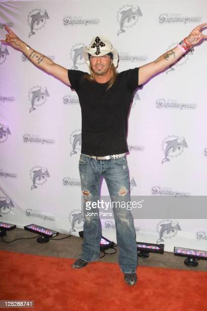 Bret Michaels arrives at the Miami Dolphins versus the New England Patriots game at Sun Life Stadium on October 4 2010 in Miami Florida