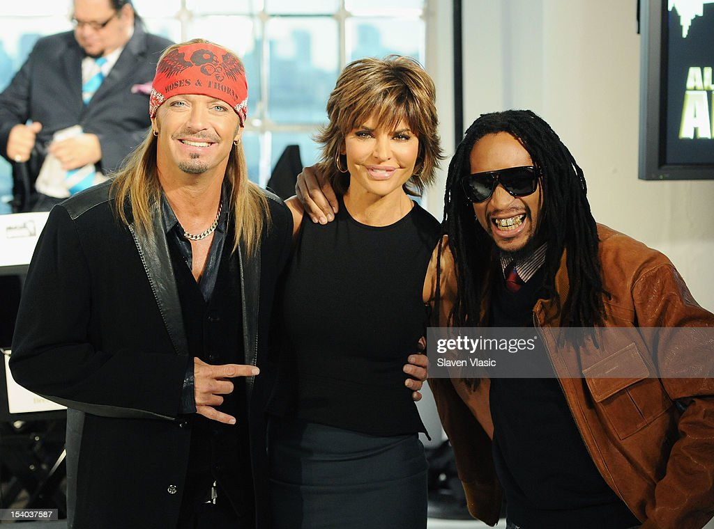 <a gi-track='captionPersonalityLinkClicked' href=/galleries/search?phrase=Bret+Michaels&family=editorial&specificpeople=1150752 ng-click='$event.stopPropagation()'>Bret Michaels</a>, <a gi-track='captionPersonalityLinkClicked' href=/galleries/search?phrase=Lisa+Rinna&family=editorial&specificpeople=202100 ng-click='$event.stopPropagation()'>Lisa Rinna</a> and <a gi-track='captionPersonalityLinkClicked' href=/galleries/search?phrase=Lil+Jon+-+Rapper&family=editorial&specificpeople=202659 ng-click='$event.stopPropagation()'>Lil Jon</a> attend the 'Celebrity Apprentice All Stars' Season 13 Press Conference at Jack Studios on October 12, 2012 in New York City.