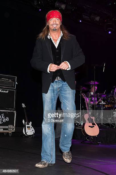 Bret Michaels performs on stage during the Sing For Your Supper Campaign Launch at Hard Rock Cafe New York on April 15 2014 in New York City