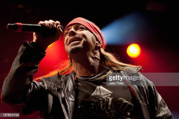 Bret Michaels performs onstage during day 1 of the Super Bowl Village on January 27 2012 in Indianapolis Indiana