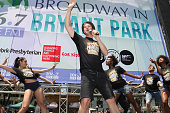 Bret Shuford with the cast of 'Cirque du Soleil PARAMOUR' performs at 1067 LITE FM's Broadway in Bryant Park in Bryant Park on July 21 2016 in New...