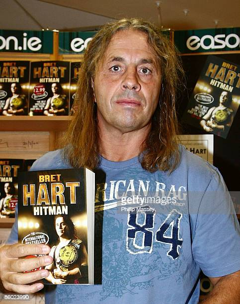 Bret 'The Hitman' Hart signs copies of his book 'Hitman' in Easons O'Connell Street on April 18 2009 in Dublin Ireland