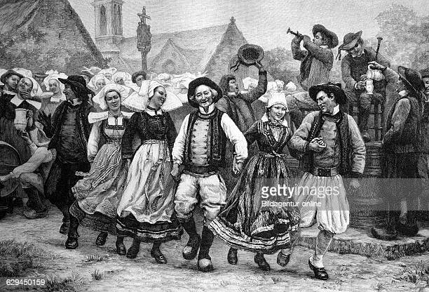 Breton gavotte french folk dance brittany france historical illustration wood engraving about 1888