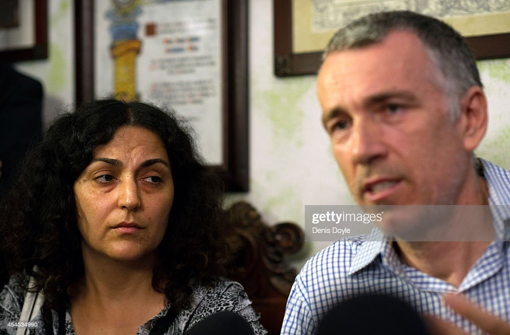 Brett and Naghmeh King, parents of five year old Ashya King, hold a press conference at their lawyer's office on September 3, 2014 in Seville, Spain. Brett and Naghmeh King were released from a Madrid prison late on September 2nd, after British authorities dropped an extradition request. Ashya King, who has a brain tumour, had been taken by his parents from a UK hospital against medical advice.