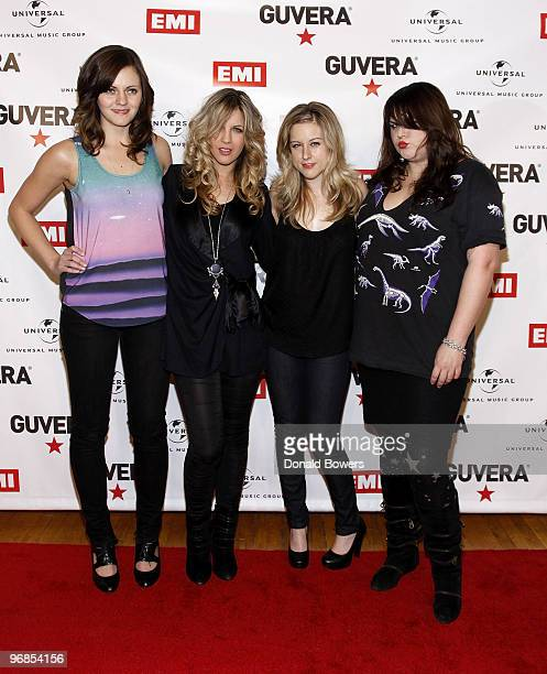 Brett Anderson Allison Robertson Torry Castellano and Maya Ford of The Donnas attends the prelaunch party for Guvera at Metropolitan Pavilion on...