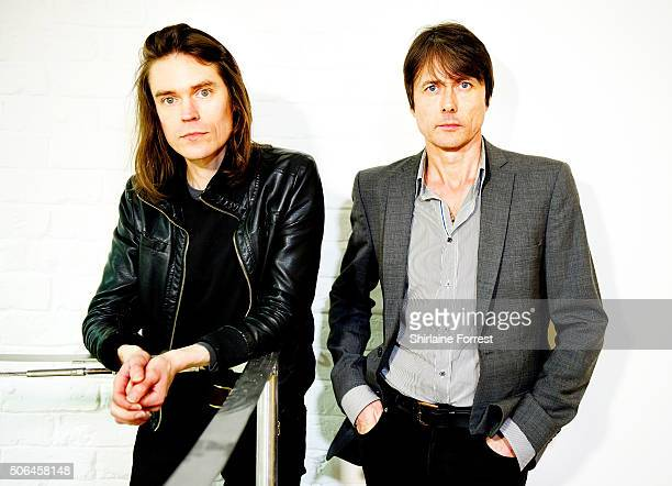 Brett Anderson and Neil Codling of Suede pose backstage after performing a live acoustic set and signing copies of their new album 'Night Thoughts'at...
