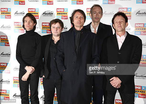 Brett Anderson and the other member of Suede attend the NME Awards at Brixton Academy on February 18 2015 in London England