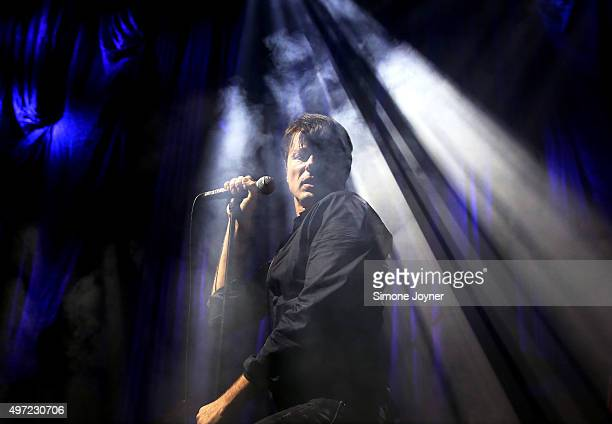 Brett Anderson of Suede performs live on the stage at The Roundhouse on November 14 2015 in London England