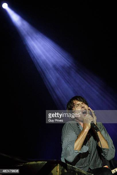 Brett Anderson of Suede performs on stage at Menora Mivtachim Arena on July 30 2015 in Tel Aviv Israel