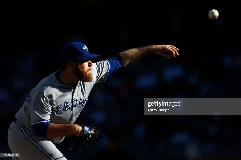 Brett Anderson #46 of the Toronto Blue Jays pitches against the New York Yankees during the fourth inning at Yankee Stadium on October 1, 2017 in the Bronx borough of New York City.