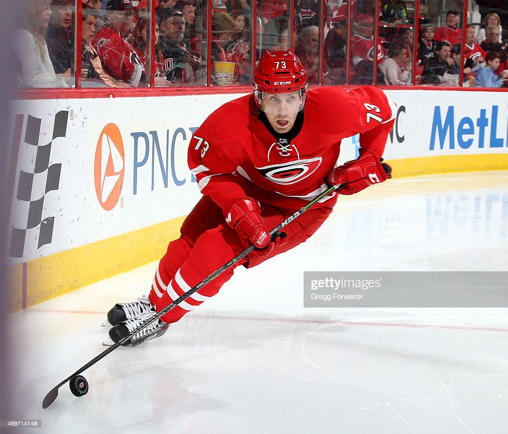 <a gi-track='captionPersonalityLinkClicked' href=/galleries/search?phrase=Brett+Bellemore&family=editorial&specificpeople=4270909 ng-click='$event.stopPropagation()'>Brett Bellemore</a> #73 of the Carolina Hurricanes controls the puck along the boards during their NHL game against the Detroit Red Wings at PNC Arena on April 11, 2015 in Raleigh, North Carolina.