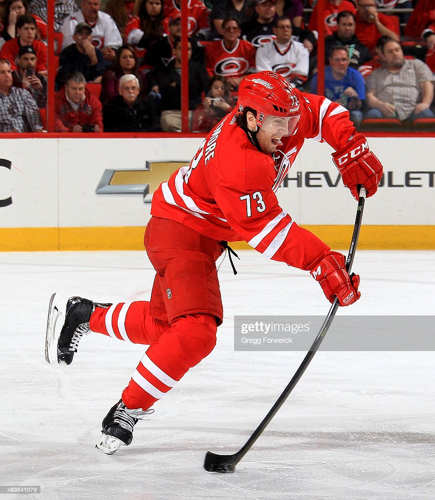 <a gi-track='captionPersonalityLinkClicked' href=/galleries/search?phrase=Brett+Bellemore&family=editorial&specificpeople=4270909 ng-click='$event.stopPropagation()'>Brett Bellemore</a> #73 of the Carolina Hurricanes looks to pass the puck during their NHL game against the Dallas Stars at PNC Arena on April 3, 2014 in Raleigh, North Carolina.
