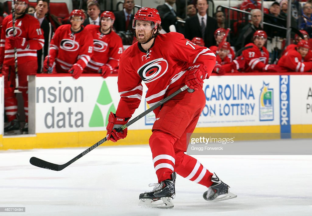 <a gi-track='captionPersonalityLinkClicked' href=/galleries/search?phrase=Brett+Bellemore&family=editorial&specificpeople=4270909 ng-click='$event.stopPropagation()'>Brett Bellemore</a> #73 of the Carolina Hurricanes shoots the puck during their NHL game against the St. Louis Blues at PNC Arena on January 30, 2015 in Raleigh, North Carolina.