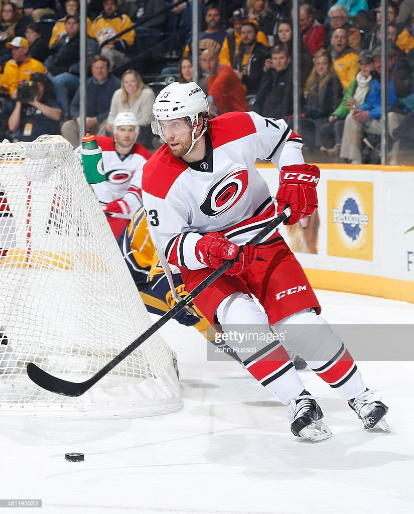 <a gi-track='captionPersonalityLinkClicked' href=/galleries/search?phrase=Brett+Bellemore&family=editorial&specificpeople=4270909 ng-click='$event.stopPropagation()'>Brett Bellemore</a> #73 of the Carolina Hurricanes skates against the Nashville Predators during an NHL game at Bridgestone Arena on January 6, 2015 in Nashville, Tennessee.
