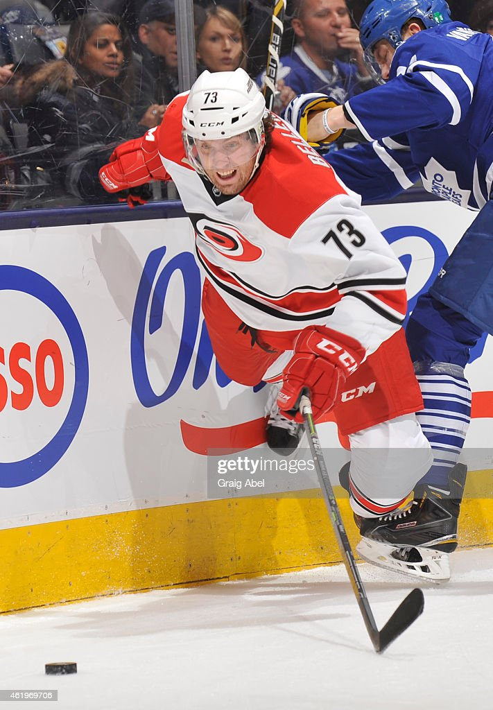 <a gi-track='captionPersonalityLinkClicked' href=/galleries/search?phrase=Brett+Bellemore&family=editorial&specificpeople=4270909 ng-click='$event.stopPropagation()'>Brett Bellemore</a> #73 of the Carolina Hurricanes skates during NHL game action against the Toronto Maple Leafs January 19, 2015 at the Air Canada Centre in Toronto, Ontario, Canada.