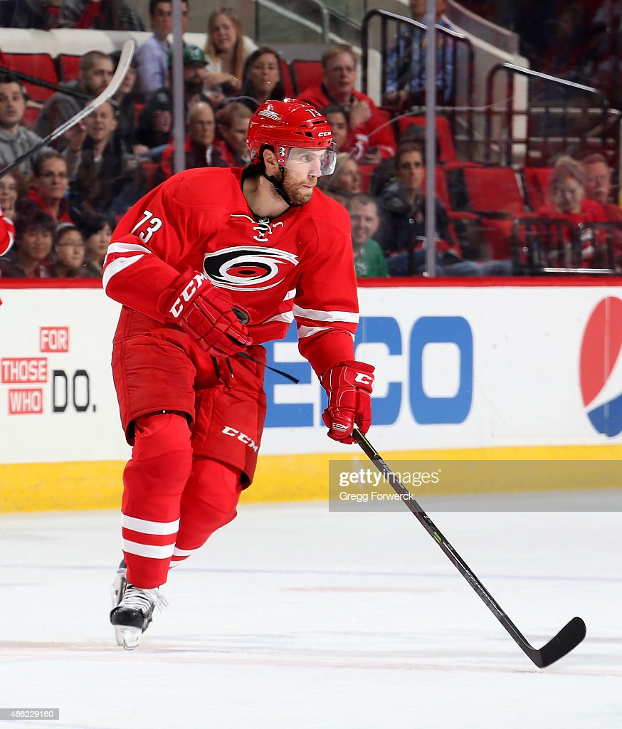 <a gi-track='captionPersonalityLinkClicked' href=/galleries/search?phrase=Brett+Bellemore&family=editorial&specificpeople=4270909 ng-click='$event.stopPropagation()'>Brett Bellemore</a> #73 of the Carolina Hurricanes skates for position on the ice against the Dallas Stars during their NHL game at PNC Arena on March 12, 2015 in Raleigh, North Carolina.