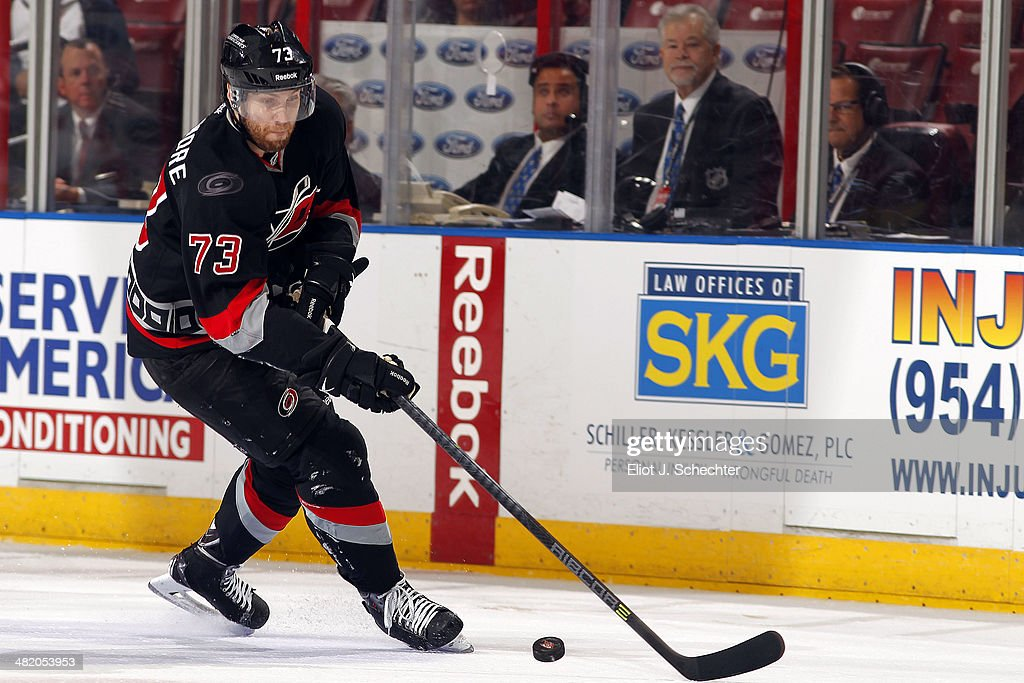 <a gi-track='captionPersonalityLinkClicked' href=/galleries/search?phrase=Brett+Bellemore&family=editorial&specificpeople=4270909 ng-click='$event.stopPropagation()'>Brett Bellemore</a> #73 of the Carolina Hurricanes skates with the puck against the Florida Panthers at the BB&T Center on March 27, 2014 in Sunrise, Florida.