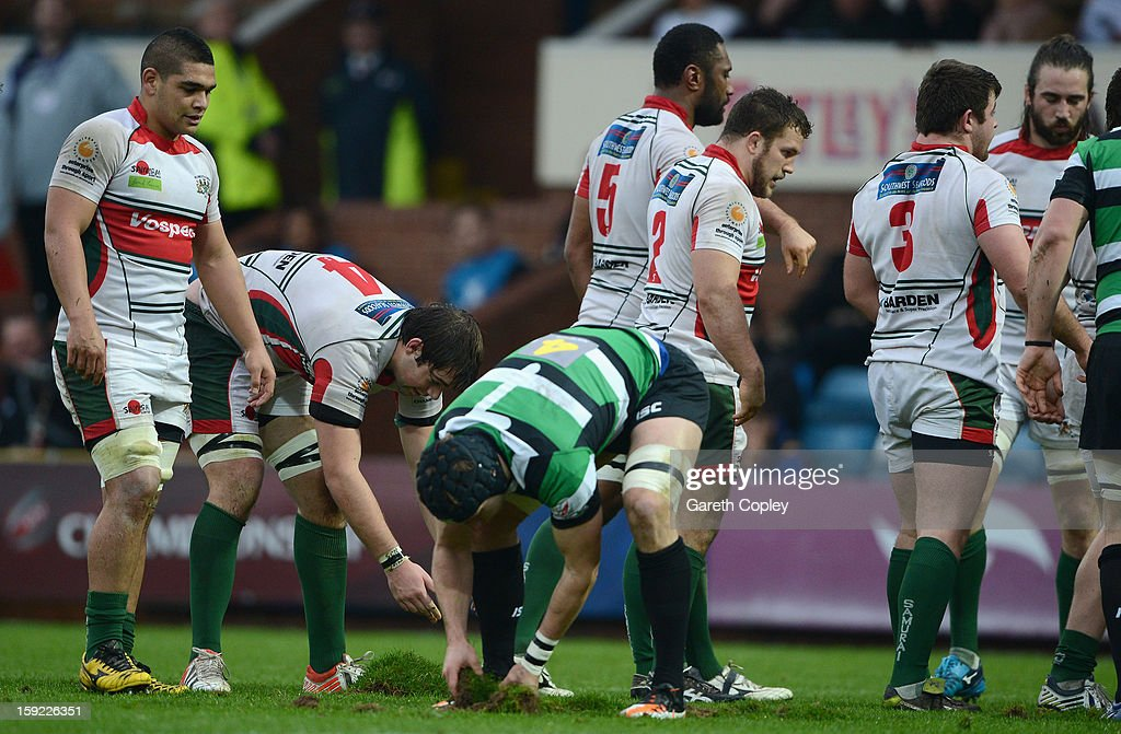 Brett Beukeboom of Plymouth and Jacob Rowan of Leeds repair the pitch after an attempted scrum during the RFU Championship match between Leeds Carnegie and Plymouth Albion at Headingley Carnegie Stadium on January 6, 2013 in Leeds, England.