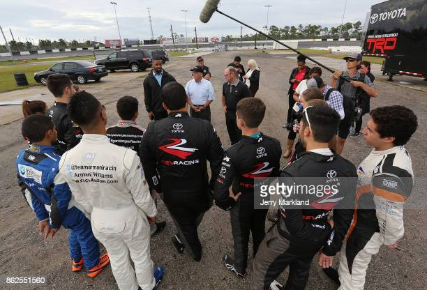 Brett Bodine and Jusan Hamilton talk to the 2017 NASCAR Drive for Diversity Combine participants at New Smyrna Speedway on October 17 2017 in New...