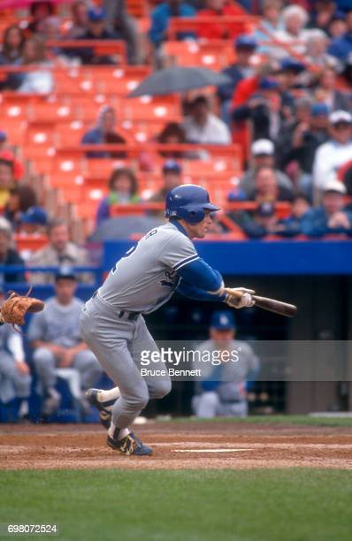 Brett Butler of the Los Angeles Dodgers bunts during an MLB game against the New York Mets on May 10 1992 at Shea Stadium in Flushing New York