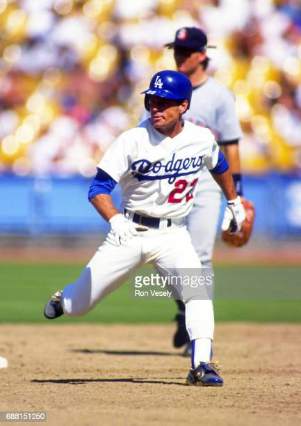 Brett Butler of the Los Angeles Dodgers runs the bases during an MLB game versus the San Diego Padres at Dodgers Stadium in Los Angeles California...