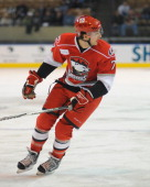 Brett Carson of the Charlotte Checkers is shown during game action against the Worcester Sharks at the DCU Center on November 27 2010 in Worcester...