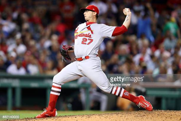 Brett Cecil of the St Louis Cardinals pitches against the Boston Red Sox during the sixth inning at Fenway Park on August 15 2017 in Boston...