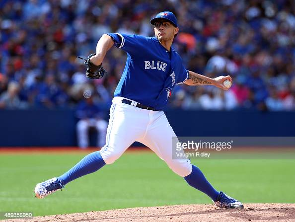 Brett Cecil of the Toronto Blue Jays comes in as a reliever in the seventh inning during a MLB game against the Boston Red Sox at Rogers Centre on...