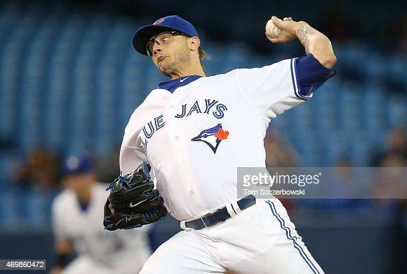 Brett Cecil of the Toronto Blue Jays delivers a pitch in the ninth inning during MLB game action against the Tampa Bay Rays on April 15 2015 at...