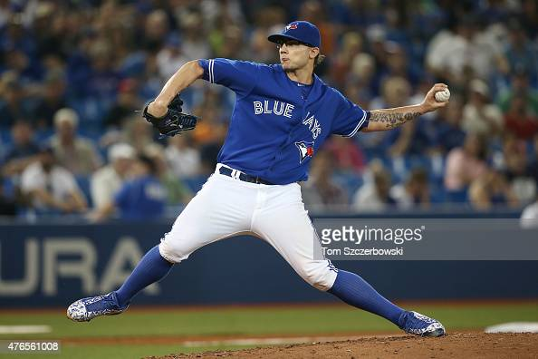 Brett Cecil of the Toronto Blue Jays delivers a pitch in the ninth inning during MLB game action against the Miami Marlins on June 10 2015 at Rogers...