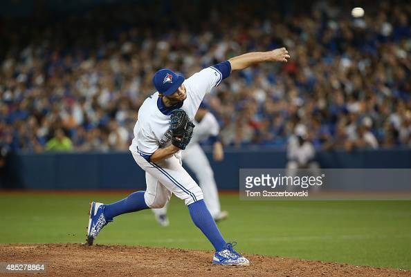 Brett Cecil of the Toronto Blue Jays delivers a pitch in the ninth inning during MLB game action against the New York Yankees on August 14 2015 at...