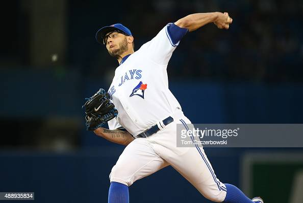 Brett Cecil of the Toronto Blue Jays delivers a pitch in the seventh inning during MLB game action against the Philadelphia Phillies on July 28 2015...