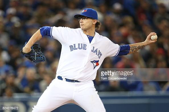 Brett Cecil of the Toronto Blue Jays delivers a pitch in the seventh inning during MLB game action against the Chicago White Sox on April 25 2016 at...
