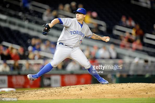 Brett Cecil of the Toronto Blue Jays pitches against the Washington Nationals at Nationals Park on June 2 2015 in Washington DC