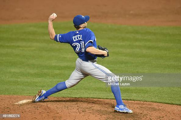 Brett Cecil of the Toronto Blue Jays pitches during a baseball game against the Baltimore Orioles at Oriole Park at Camden Yards on September 28 2015...
