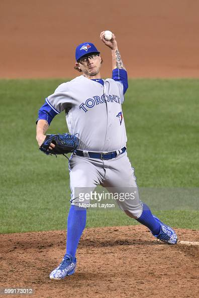 Brett Cecil of the Toronto Blue Jays pitches during a baseball game against the Baltimore Orioles at Oriole Park at Camden Yards on August 31 2016 in...