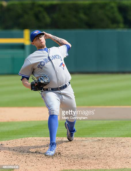 Brett Cecil of the Toronto Blue Jays pitches during the game against the Detroit Tigers at Comerica Park on July 4 2015 in Detroit Michigan The...
